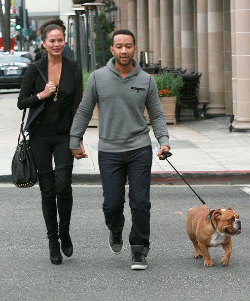 John Legend Photos: John Legend And Christine Teigen Walking Their Dog In Beverly Hills