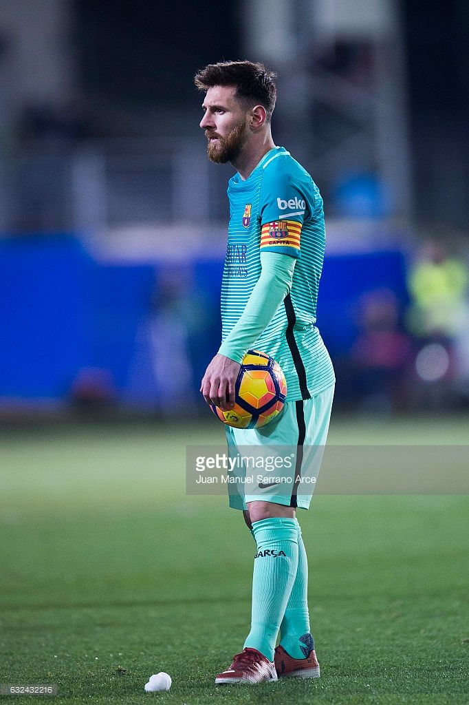 Lionel Messi of FC Barcelona reacts during the La Liga match between SD Eibar and FC Barcelona at Ipurua Municipal Stadium on January 22, 2017 in Eibar, Spain.