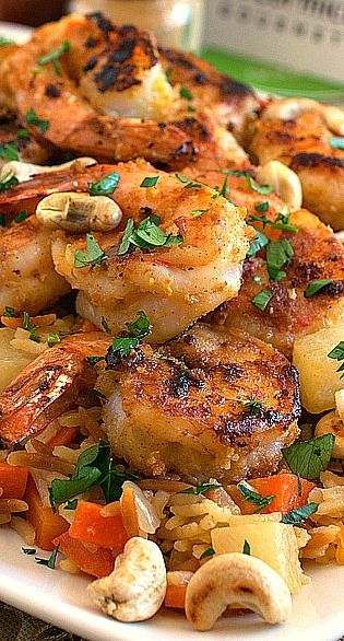 1100 calorie plan - main dish - lunch - Garlic Lemon Shrimp with Vegetable Rice Pilaf