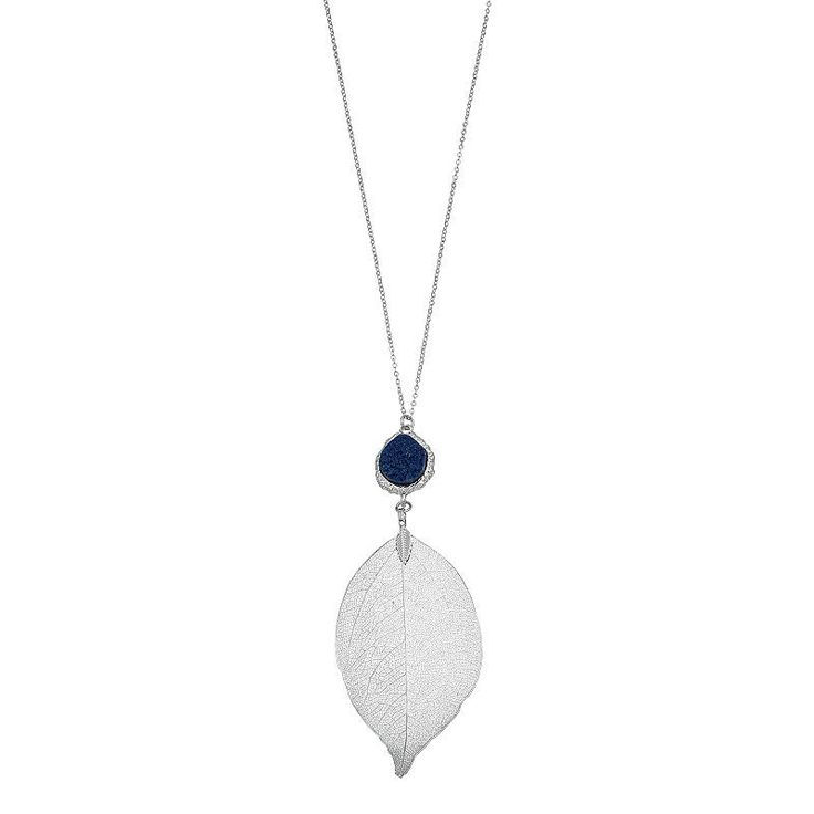 Long Blue Simulated Drusy Leaf Pendant Necklace, Women's, Navy