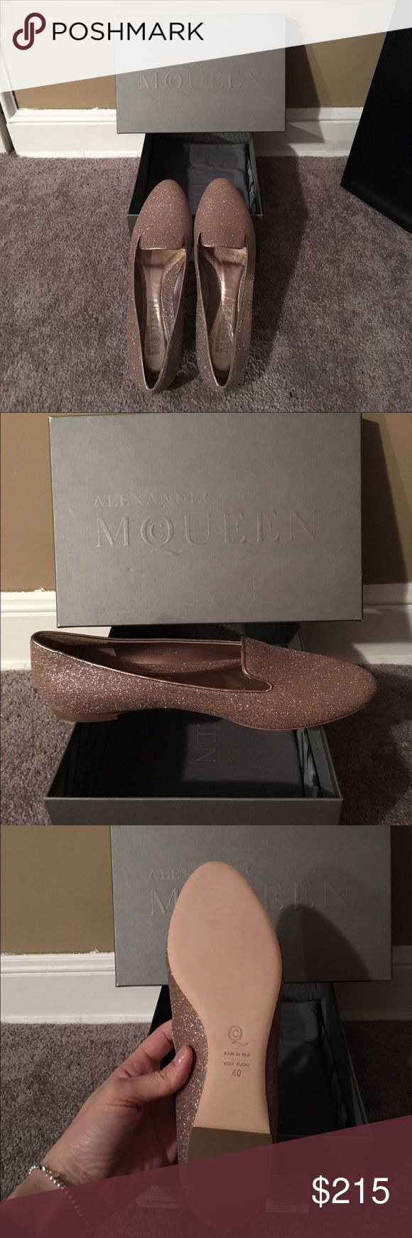 NIB Alexander McQueen Sparkly Pink Loafers Sz 40!! Brand new in box 1000% authentic Alexander McQueen sparkly pink loafers!! These are a size 40, but I think run a little small. I bought these at a sample sale in NYC a little while ago and have just never worn them. Dust bag is included. Please let me know if you have any questions and please make me an offer. Thx!! 😀😀 Alexander McQueen Shoes Flats & Loafers