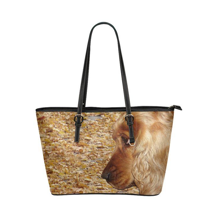 Dog Cocker Spaniel Leather Tote Bag/Large (Model 1651)