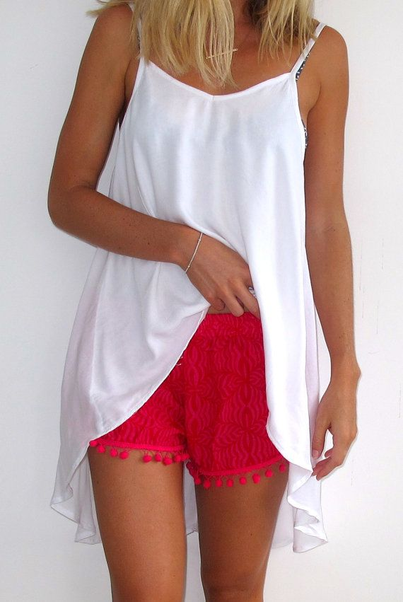 Pom Pom Shorts Hot Pink & Red Print with Large by ljcdesignss