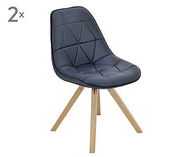 Набор из 2 стульев - дерево - синий, 52х41х84 см