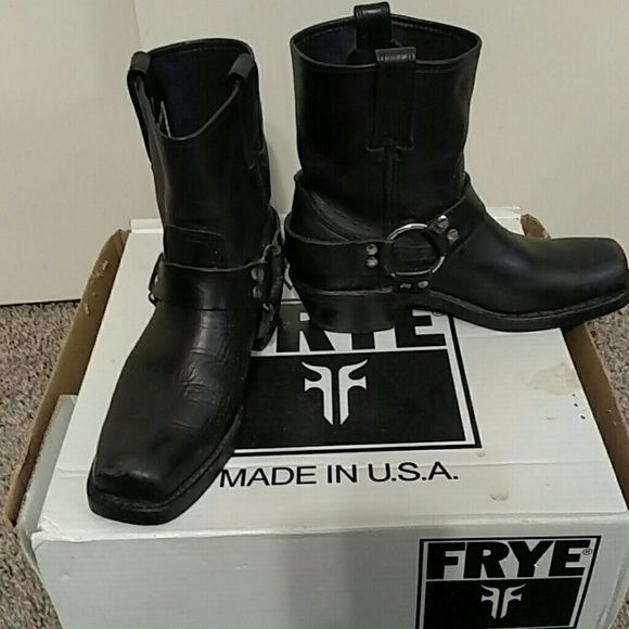 Frye harness boots Excellent condition. Worn  a few times. Sadly my feet are too wide for this style. Frye Shoes