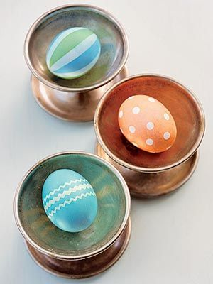 Easter Egg Designs - useing masking tape, contact paper, zig zag scissors, and stickers (remove stickers after dyeing eggs)...just homemade one of a kind and not PAAS