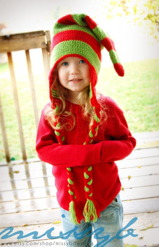 Crochet Hat Pattern - Christmas Elf Hat  <3 This and will be making for sure!