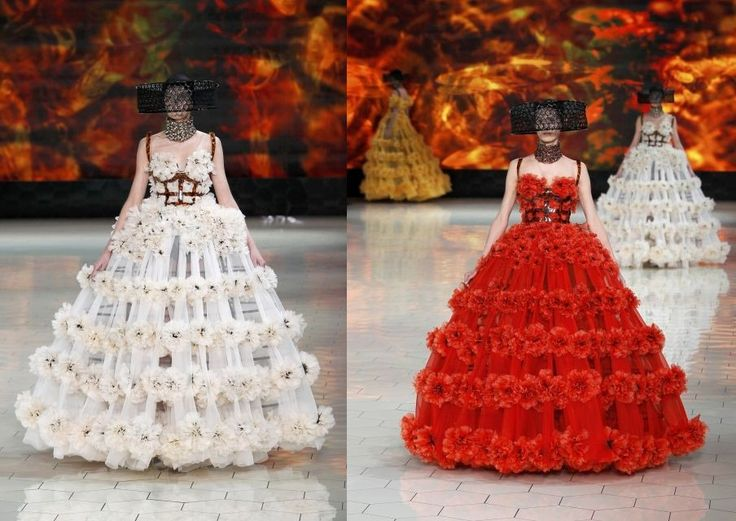 Alexander McQueen S/S 13. Normally, I am not a Sarah Burton fan (I feel she ruined the ingenuity of McQueen); however, I like this juxtaposition.