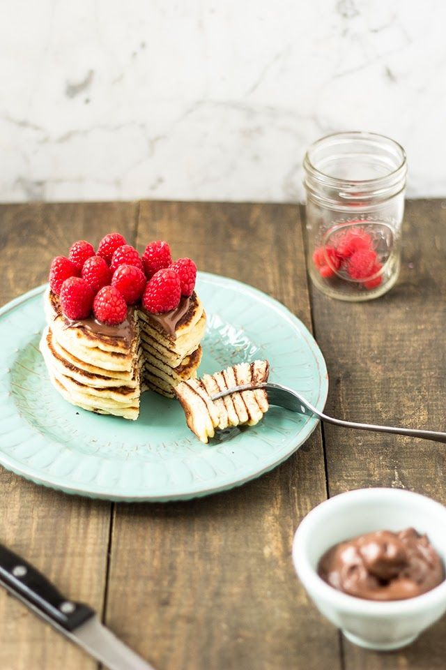 mbakes: Silver Dollar Pancakes with Nutella and Raspberries