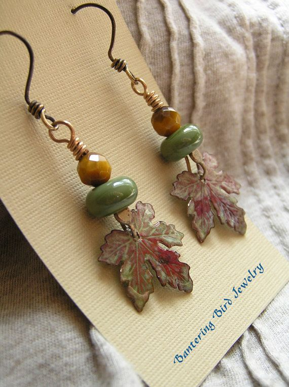 Maple Leaf Dangle Earrings with Golden Tiger's Eye and Moss Green Lampwork Glass Beads Fall Jewelry