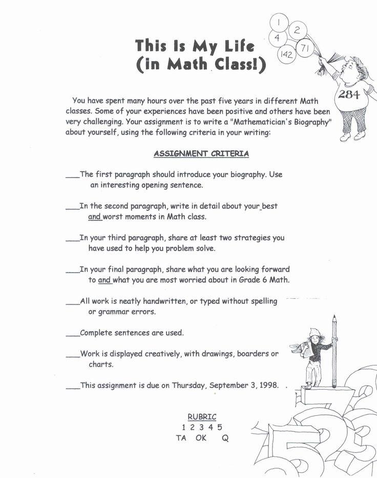 Math writing assignment