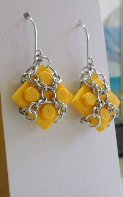 Yellow Lego Dangle Earrings with Aluminium by StarTideDesigns, $25.00
