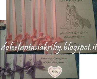 Libretti messa matrimonio: nastri rosa e glicine. *Dolce Fantasia Kriby*