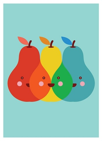 Primary Pears...how cute. Could be cute tissue paper decoupage project showing how colors mix.
