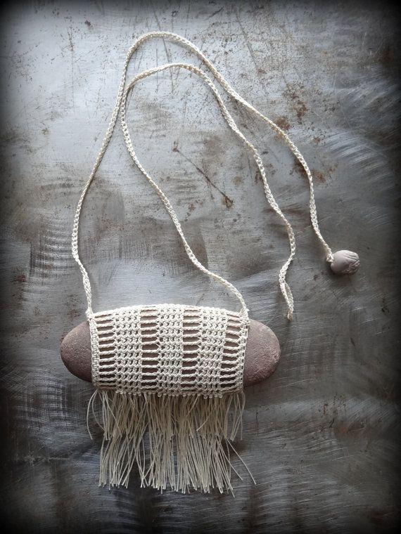 Artist Necklace, Crocheted Lace, River Stone, Fringe, Handmade, Brown Stone, Nature, Unique, Bohemian, Monicaj