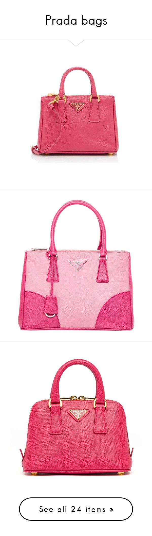 """Prada bags"" by missloveschic ❤ liked on Polyvore featuring bags, handbags, shoulder bags, pink, mini crossbody, red shoulder bag, prada purses, over the shoulder bag, crossbody handbags and tote bags"