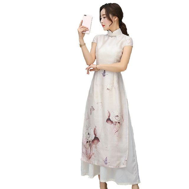 Fasbys Boutique Chinese Traditional Short Sleeve Long Cheongsam Dresses Vintage Elegant Modern Slim Retro Robe Qipao Reception