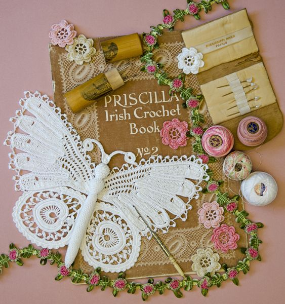 Irish crochet butterfly with Priscilla Irish Crochet book