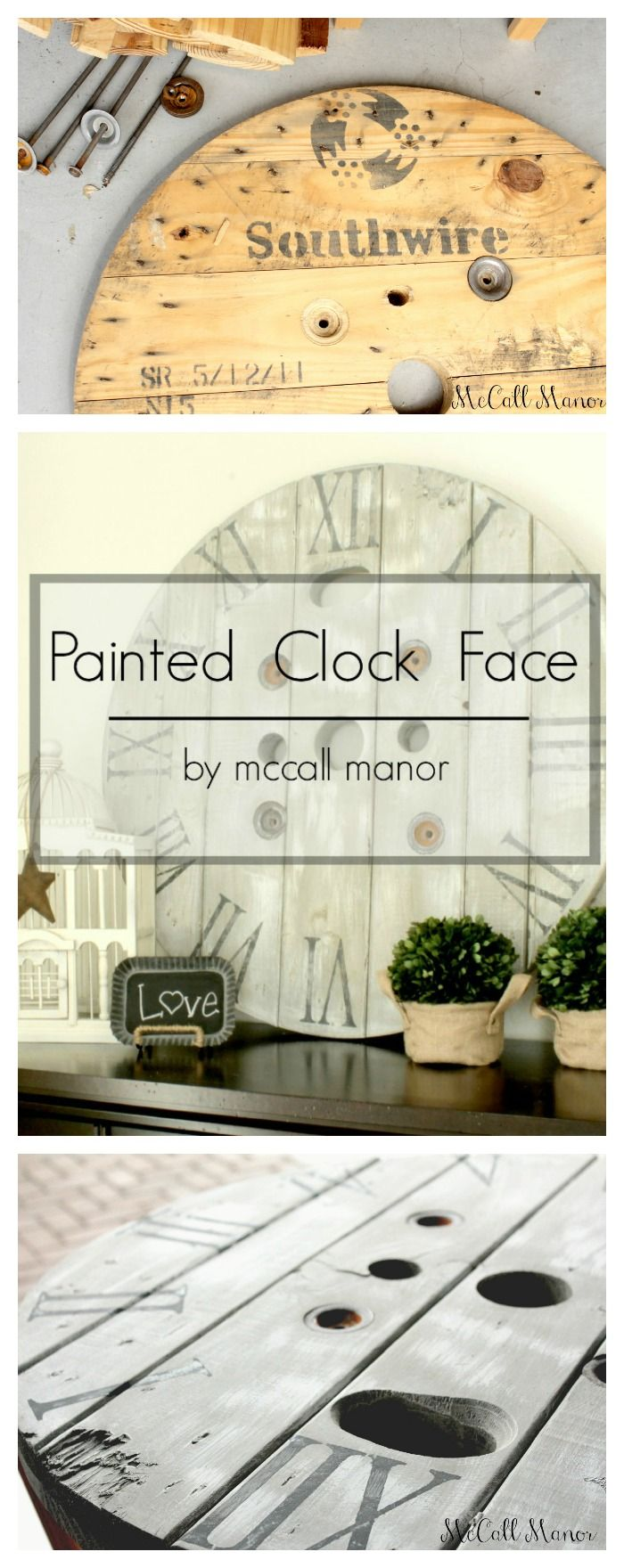 MUST PIN tutorial for making a DIY Clock! How to Make a Clock from an Electrical Spool // 3 Little Greenwoods (guest post by McCall Manor)