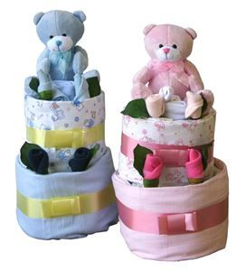Two-Tier Baby Cake Gift | http://www.flyingflowers.co.nz/two-tier-baby-cake-gift