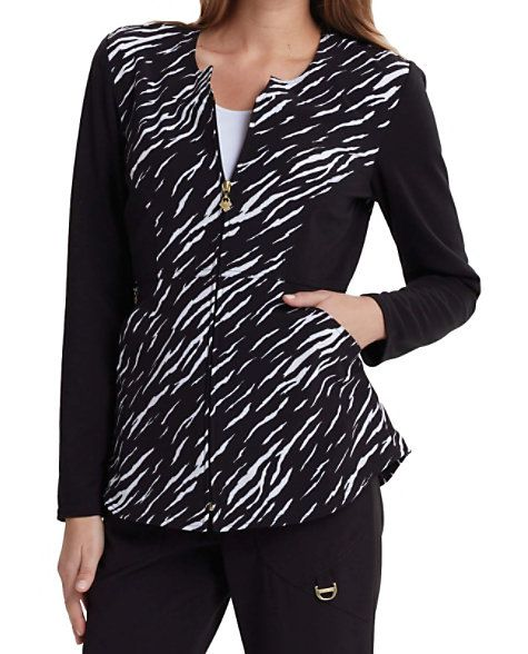 Add style to your work attire with this amazing animal print scrub jacket from the Careisma by Sofia Vergara collection! The modern fit Stay A Wild Black jacket has a convenient zip front, contrast ponte knit at the sleeves, plus side contour panels to flatter your shape. Roomy angled pockets give you ample room to store your accessories. The comfy stretch fabric feels terrific to wear. Pair it with the Stay A Wild Black print scrub top (style 610SW)! Careisma By Sofia Vergara Stay A W...