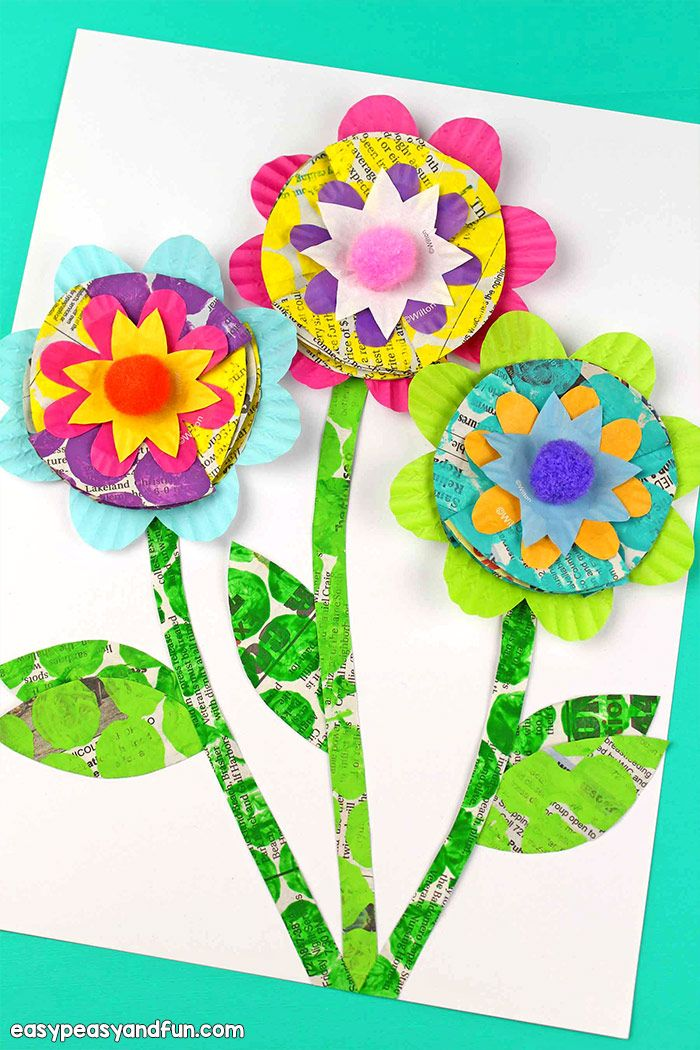 Newspaper Flowers Recycled Craft For Kids Easy Peasy And Fun Recycled Crafts Kids Recycled Art Projects Recycled Art