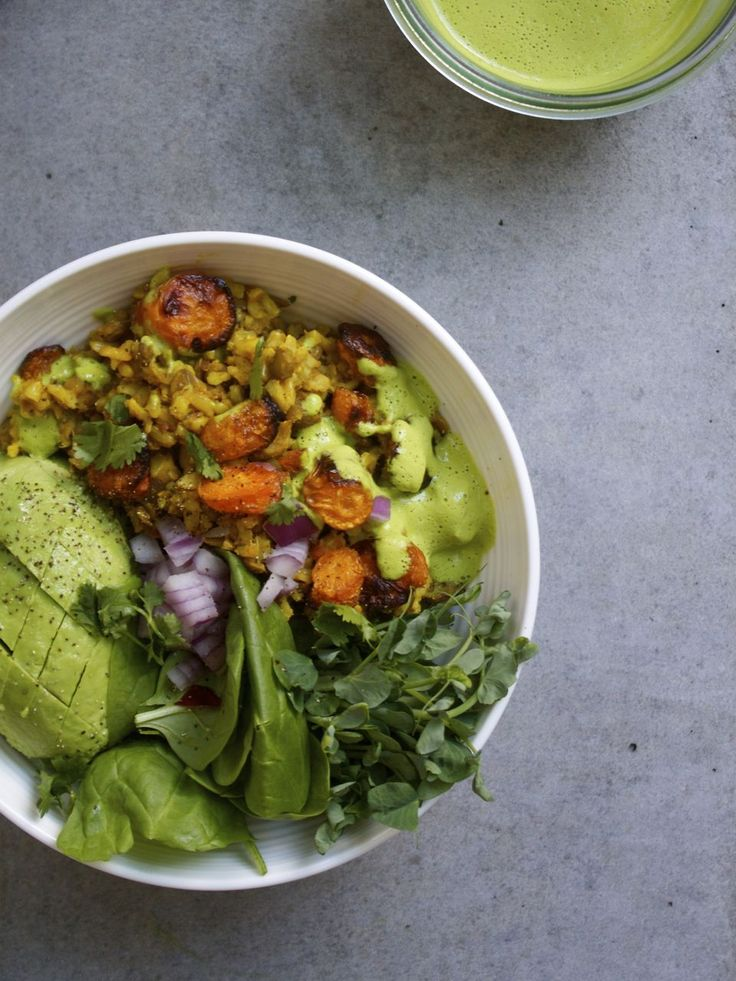Curried Lentils & Rice w/ Cashew Cilantro Dressing | In Pursuit of More