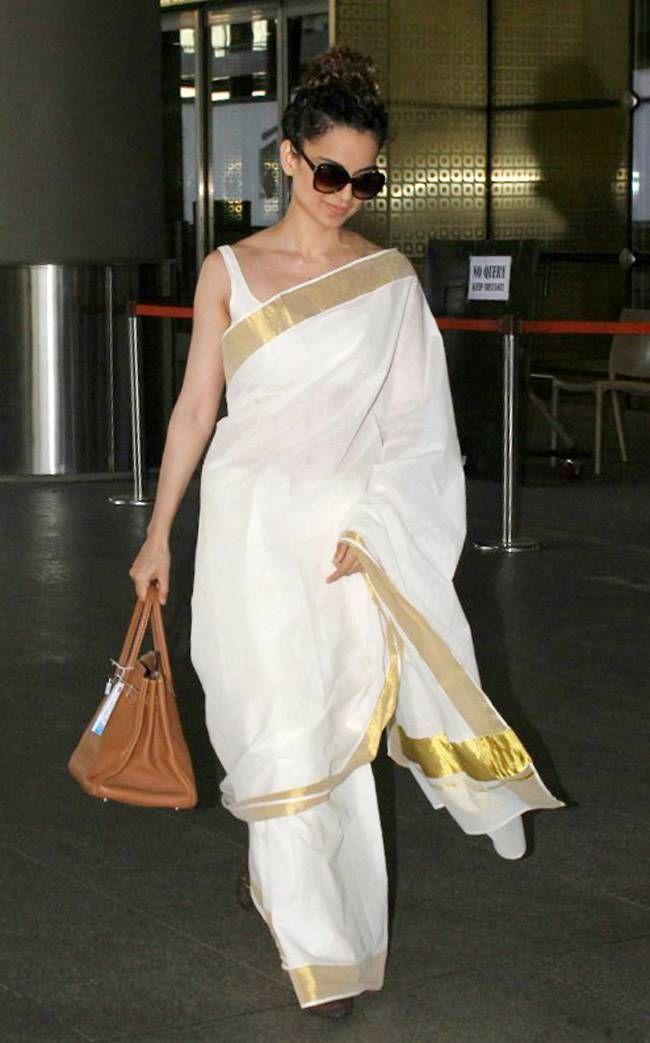 Kangana Ranaut - crisp and cool in white kasuvu saree with sleeveless blouse