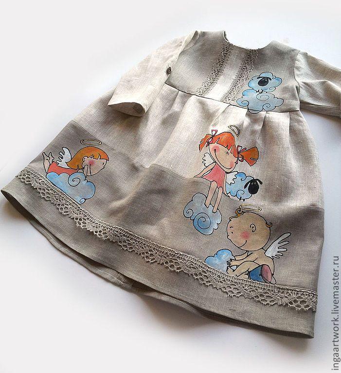 """Купить """"Игры"""" Ручная роспись. - серый, лён, льняное платье, ручная роспись, детское платье"""