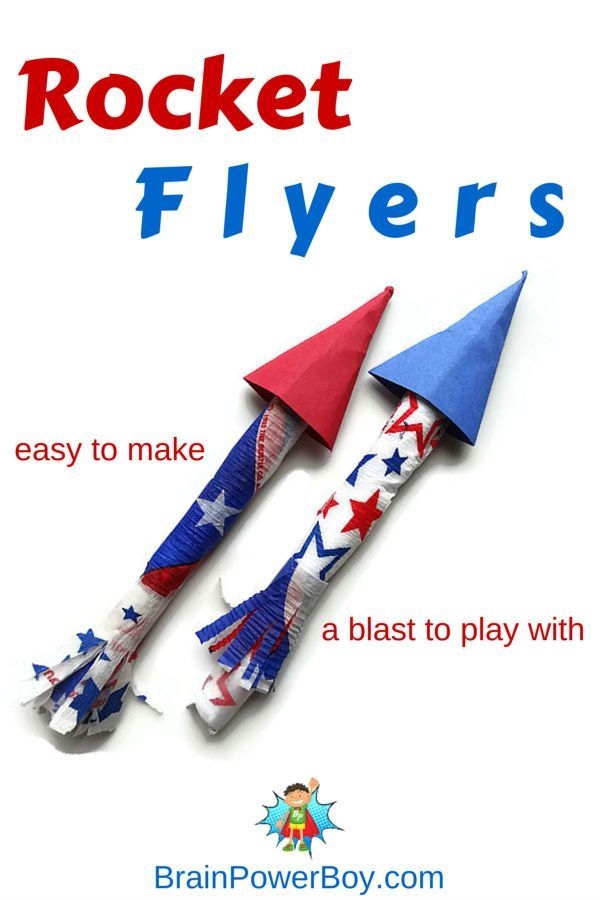 Simply fun! Try these easy to make Rocket Flyers. Great for The 4th of July or any time they will keep your kids playing for a very long time!