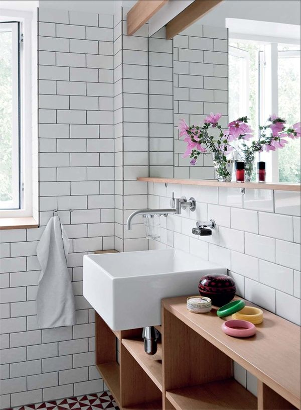 La Maison Boheme, white tile, black grout