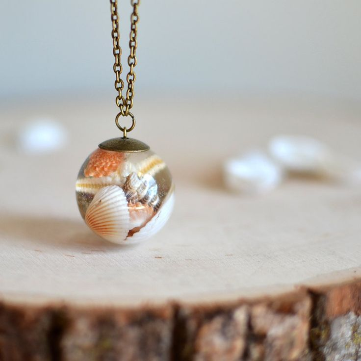 Seashell necklace resin sphere ball necklace by Goodthingsjewelry