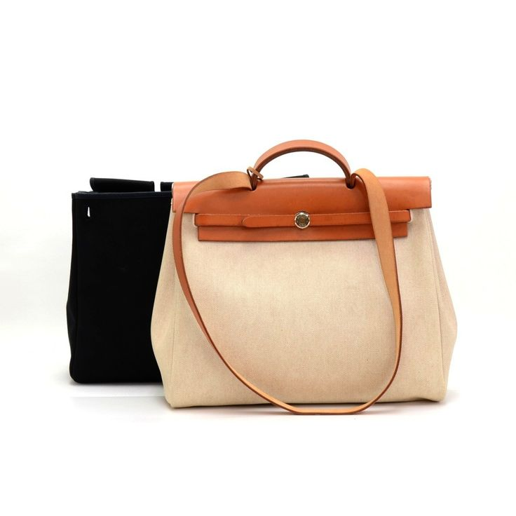 Authentic Hermes HerBag MM size 2 in 1. Two canvas bags with ...