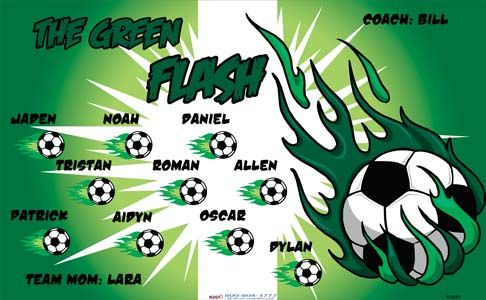 The Green Flash B54389  digitally printed vinyl soccer sports team banner. Made in the USA and shipped fast by BannersUSA.  You can easily create a similar banner using our Live Designer where you can manipulate ALL of the elements of ANY template.  You can change colors, add/change/remove text and graphics and resize the elements of your design, making it completely your own creation.