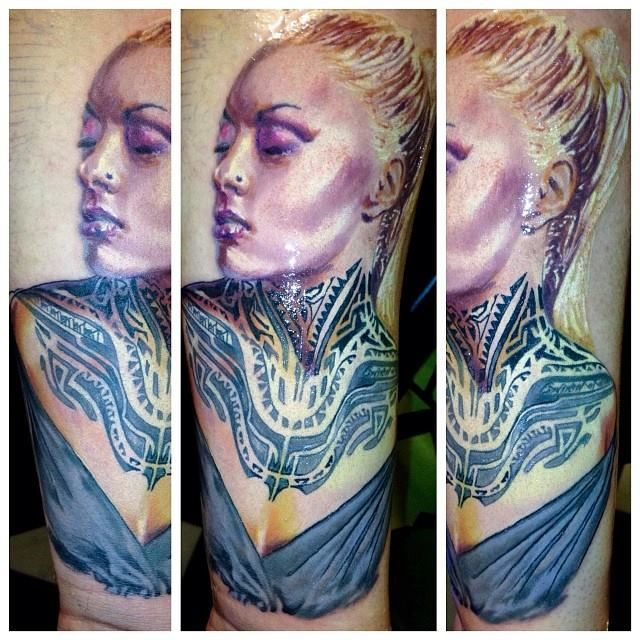 Teya Salat portrait tattoo by Balázs Vadócz at Creation Tattoo Shop