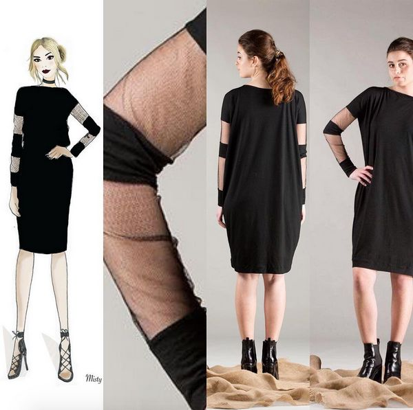 Merino Bandit Dress by Misty Lang fashion Illustration by Misty Lang mesh panel sleeves