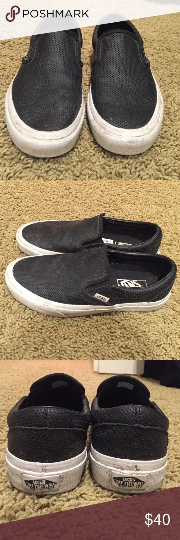 Black slip on leather vans Black slip on leather vans Vans Shoes
