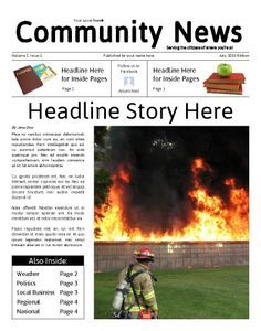 "Perfect template with modern themes for starting or continuing a community or neighborhood newspaper. Try this 11""x14"" newsletter template now using our Free Cloud Designer: www.makemynewspaper.com/free-newsletter-templates"