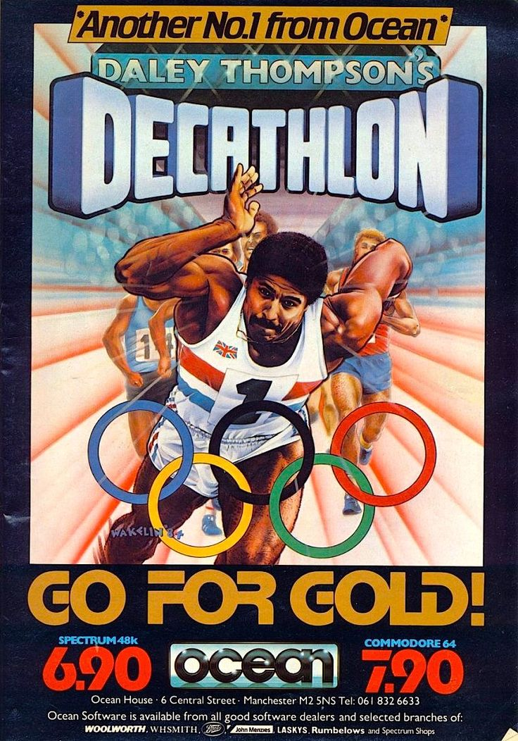 [1984] Daley Thompson's Decathlon (Ocean Software) | Daley Thompson's Decathlon is a computer game based on Konami's Track & Field, developed and released under license by Ocean Software in 1984.[2] It was released in the wake of Daley Thompson's popularity following his gold medals in the decathlon at the 1980 and 1984 Olympic Games. [wiki: https://en.wikipedia.org/wiki/Daley_Thompson%27s_Decathlon]