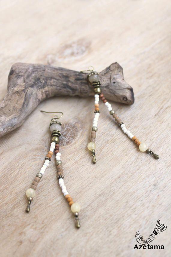 Longues Boucles d'oreilles Rustiques  Topaze  Jade