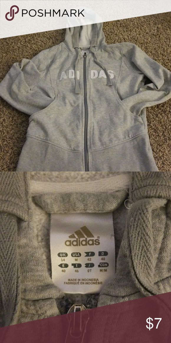 Adidas zip up hoodie Slight grass stain on left elbow adidas Jackets & Coats