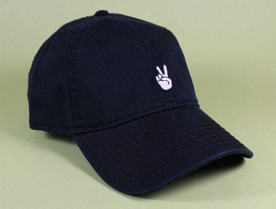 Peace Emoji Baseball Hat Dad Hat Low Profile White by BrainDazed