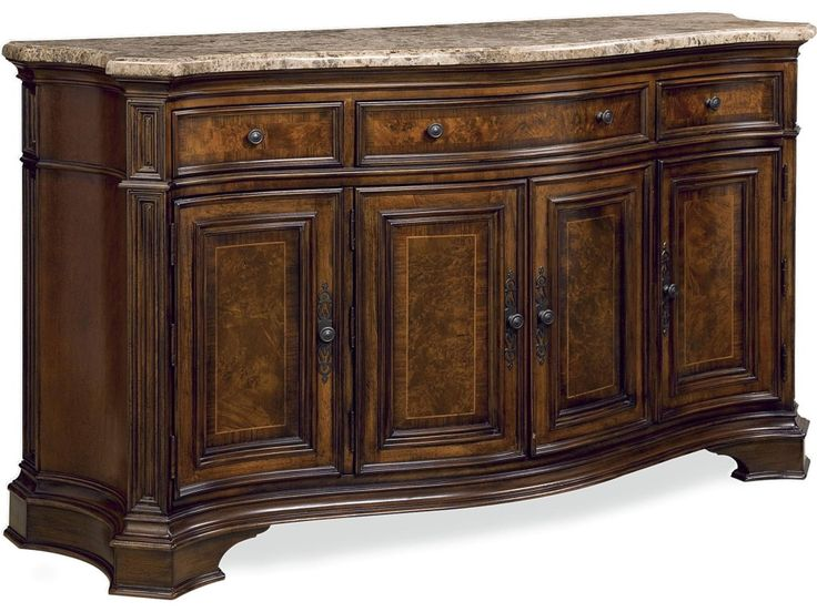With its traditional Italian design this storage credenza with marble top is both stylish and functional featuring a serpentine design, three drawers, four doors with a stationary shelf behind each, marble top and leave storage for the Villa Cortina dinning table.