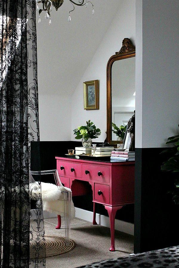 Master Bedroom Suite - pink dressing table, black lace, sheepskin