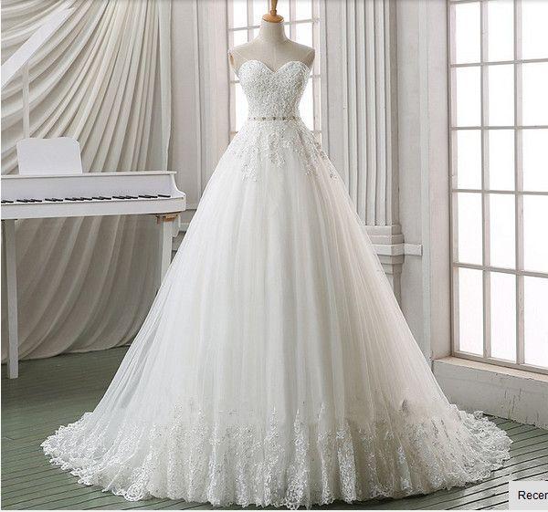 Charming Wedding Dress,Romantic Wedding Dress,Lace Bridal Dresses,A-line Wedding Dress, Sleeveless Wedding Dress,Sweetheart Wedding Dress,Bridal Dress,Empire Wedding Dress,Sweep Train Wedding Dress,Appliques Wedding Gowns