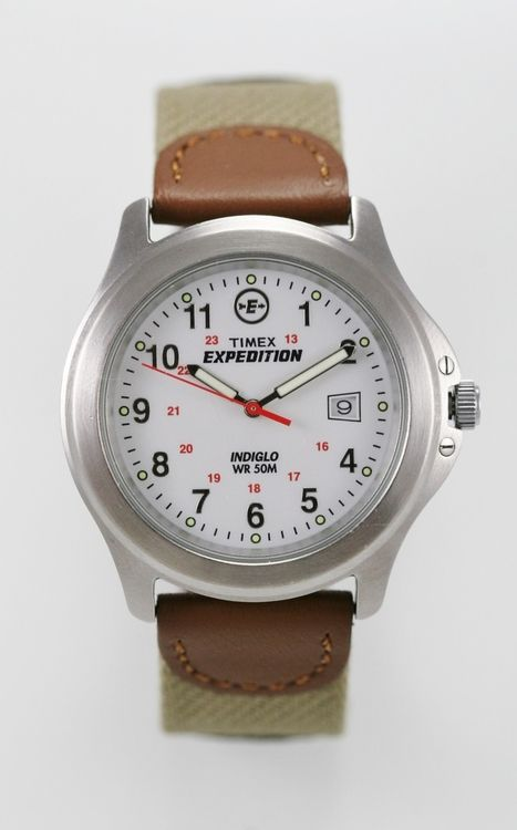 Timex Watch Mens Light Stainless Silver Brown Leather 50m White Date 24hr Quartz