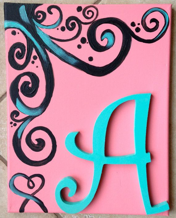 Initial in Swirls-- 11 x 14 Canvas on Etsy, $20.00 Cute for kid's room!... Check out SarahKKreations on Etsy!!