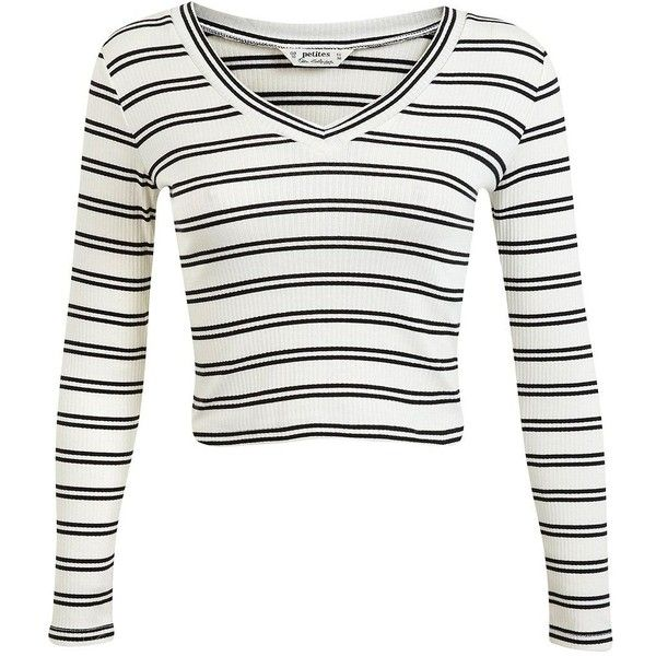 Miss Selfridge V-Neck Cricket Jumper Top found on Polyvore featuring tops, sweaters, cream, cream sweater, v neck crop top, long sleeve pullover sweater, striped crop top and striped sweater