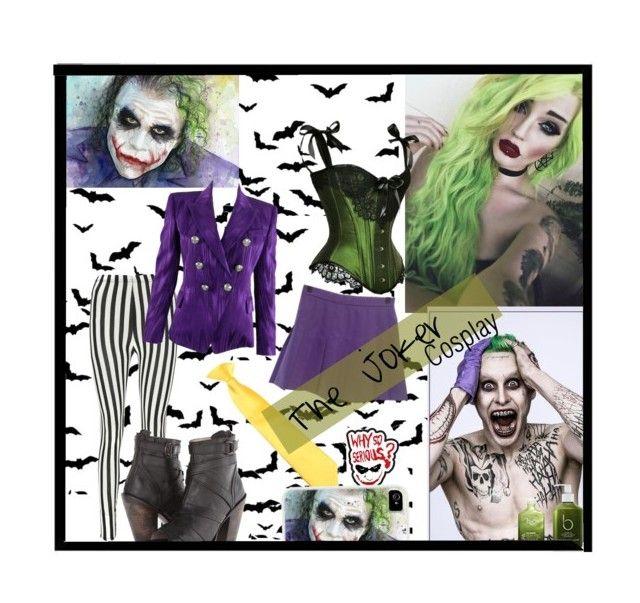 """The Joker [Female Cosplay]"" by tothebigbluesky ❤ liked on Polyvore featuring Boohoo, Balmain, Bamford, H2O+ and Freebird"