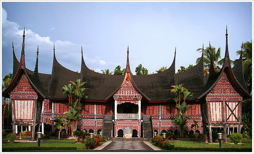 Traditional house of the Minangkabau,  West Sumatra, Indonesia